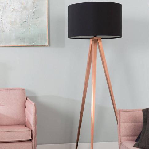 Tripod Copper Floor Lamp In Black