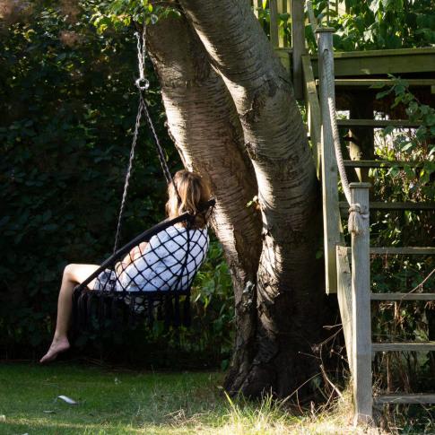 Black Macrame Hanging Chair