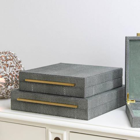 Faux Shagreen Lidded Storage Box