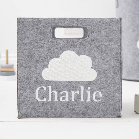 Personalised Grey Cloud Storage Cube