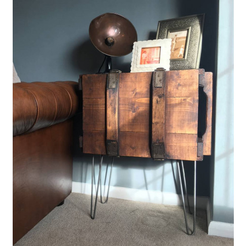 Upcycled Vintage Trunk End Table