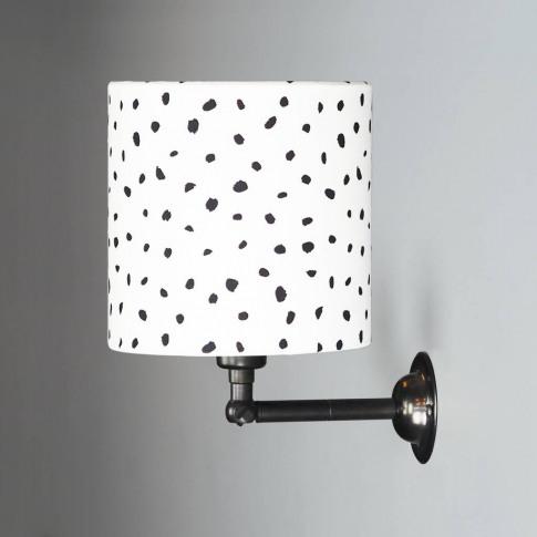 Wall Light With Black Dalmatian Spot Drum Shade