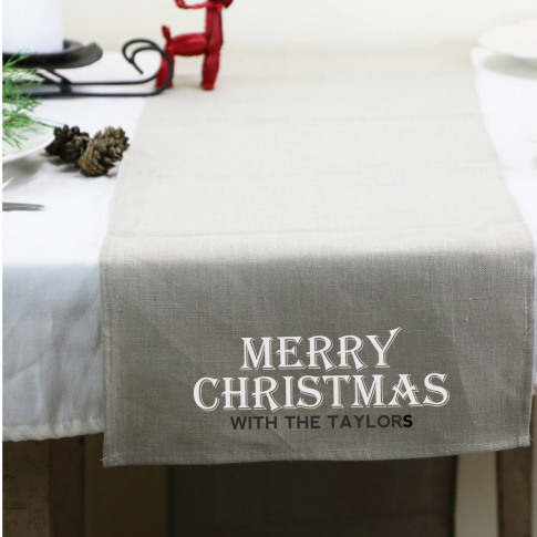 Personalised Linen Table Runner With Name