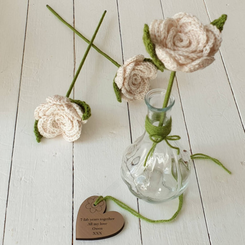 Personalised 7th Deluxe Copper Wool Rose With Vase