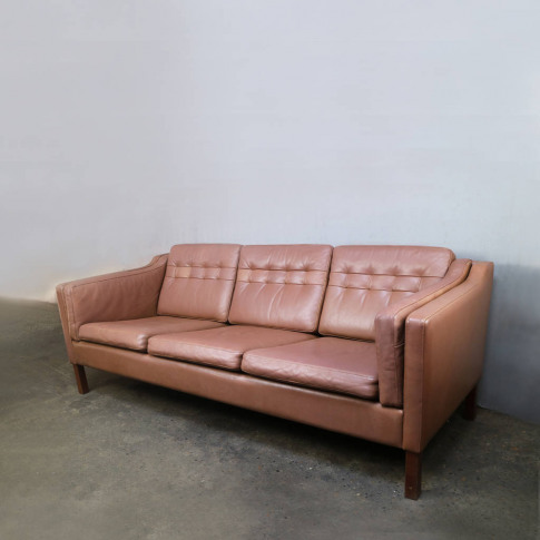 Danish 1970's Mid Century Leather Three Seat Sofa