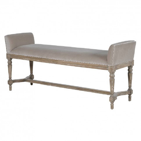 Fawn Velvet And Distressed Wood Bench