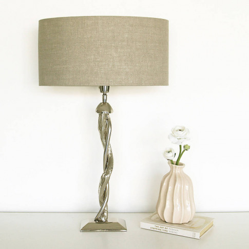 Silver Nickel Twist Table Lamp With Linen Lampshade