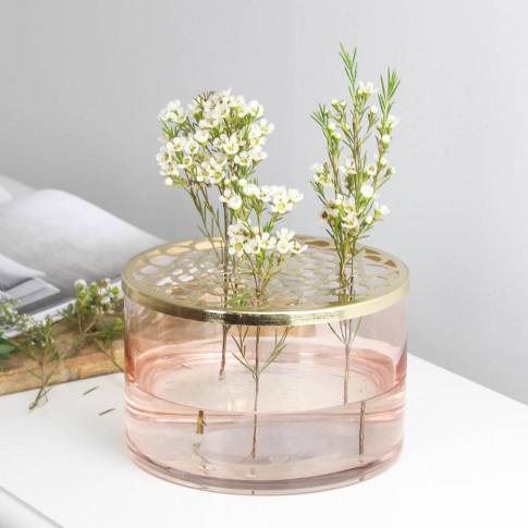 Blush Pink Glass Vase Centrepiece