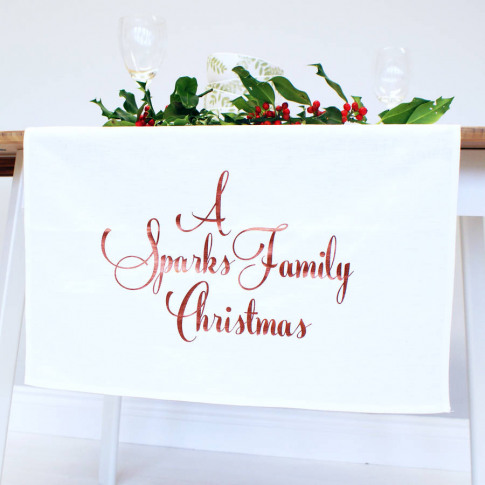 Personalised Family Christmas Table Runner