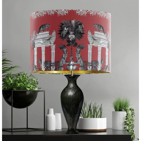 Leopard Lampshade Livoris Feritas, Red With Gold Lining