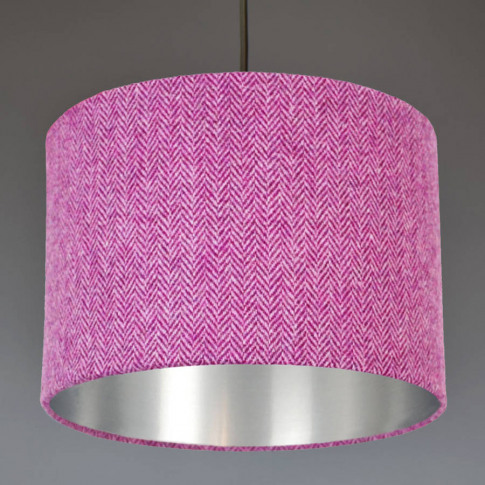 Purple Harris Tweed Lampshade Choice Of Metallic Lining