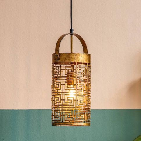 Gold Aztec Pendant Light