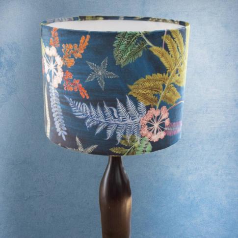 Luxury Botanical Round Teal Velvet Lampshade