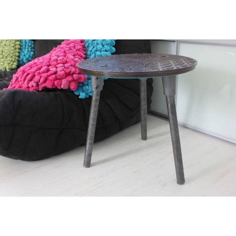 Jeremy Reclaimed Manhole Cover Side Table