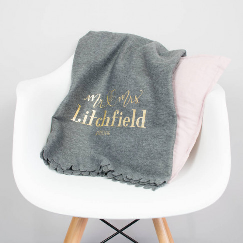 Mr And Mrs Wedding Day Heart Bed Blanket