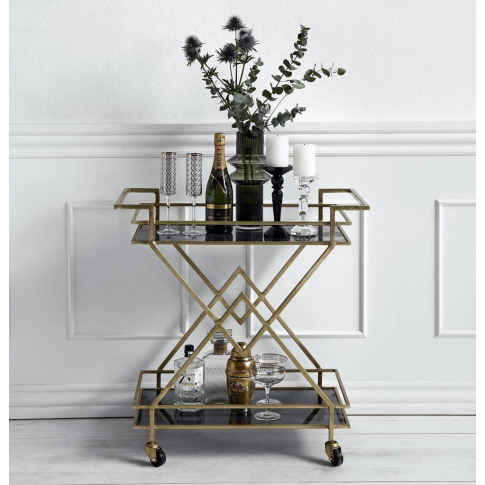Golden Drinks Trolley With Black Glass