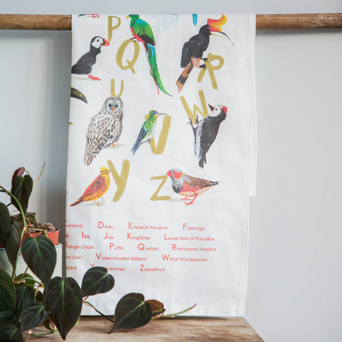 'Avian Alphabet' Illustrated Bird Tea Towel