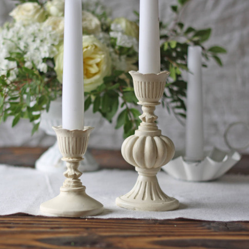 Antique Cream Candlestick Holder