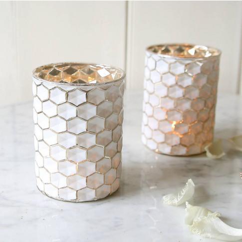 White Honeycomb Candleholder