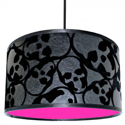 Flocked Skulls Handmade Lampshade With Neon Linings