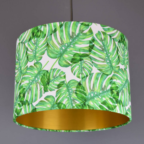 Tropical Leaf Lampshade With Choice Of Metallic Lining
