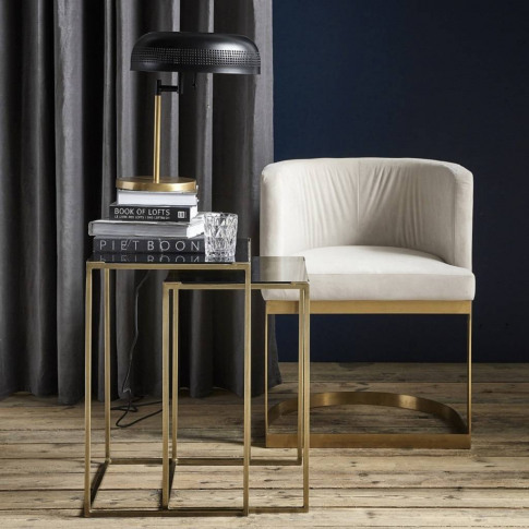 Brass And Black Nest Of Two Side Tables