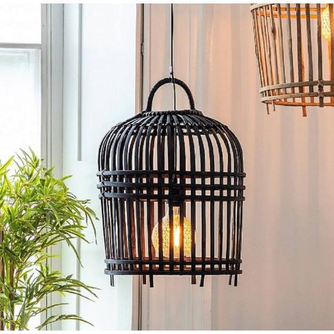 Black Bamboo Cage Pendant Light Two Sizes