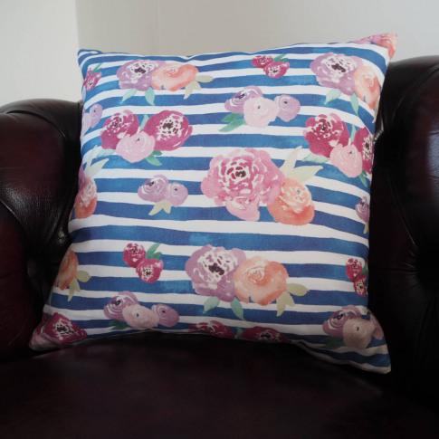 Floral Stripe Square Cushion