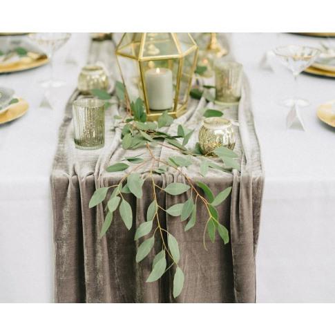Grey Velvet Table Runner