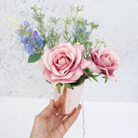 Faux Vintage Rose Bouquet In Rose Gold Vase