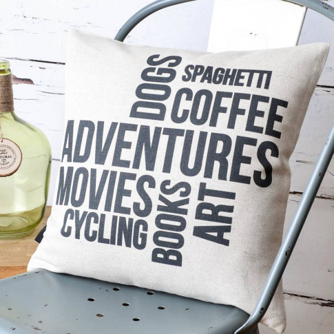 'Favourite Things' Personalised Cushion Cover