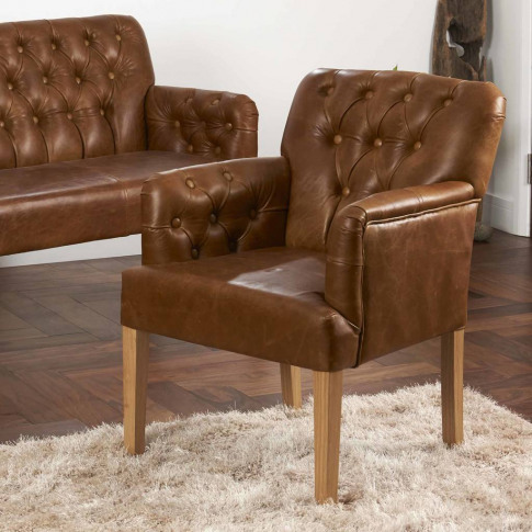 Vintage Leather Curved Arm Button Back Armchair