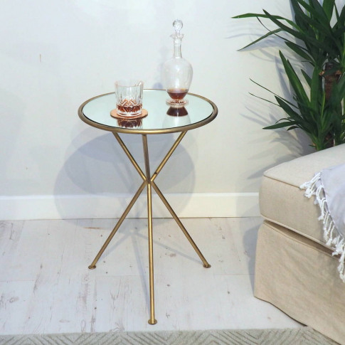 Mirrored Brass Side Table