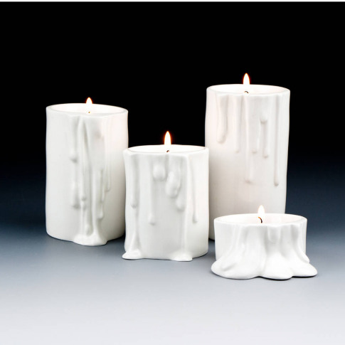 White Candle Holder With Melting Drops