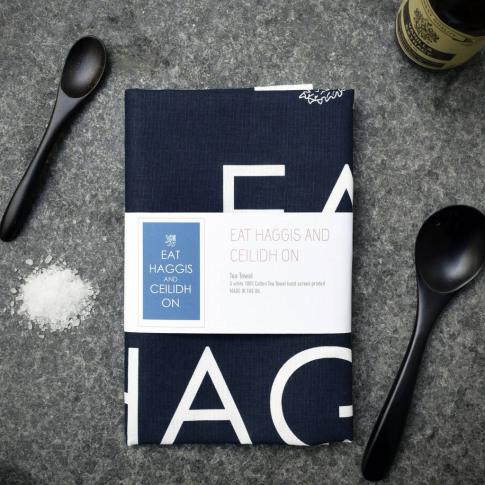 'Eat Haggis And Ceilidh On' Navy Tea Towel