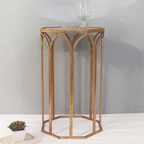 Octagonal Copper Side Table With Mirror Top