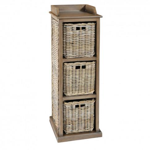 Grey Wash Three Basket Drawer Storage Unit