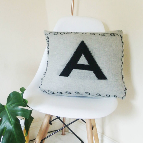 Personalised Knitted Letter Cushion