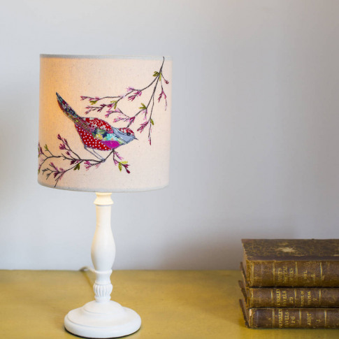 An Embroidered 'Bird And Blossom' Lampshade