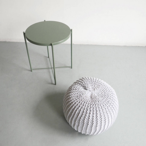 Hand Knitted Cord Pouf
