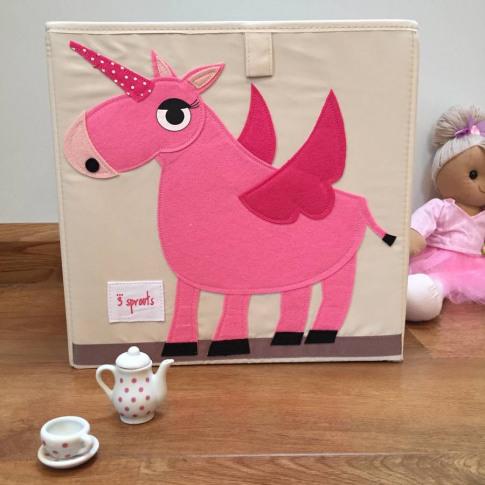 Pink Unicorn Canvas Storage Box