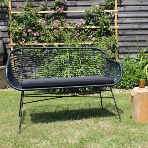 Garden Bench With Seat Pad In Black