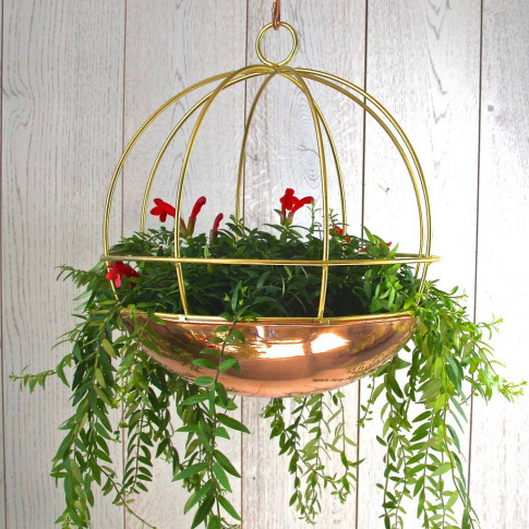 Copper Globe Hanging Planter