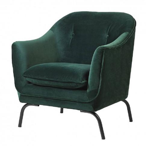 Emerald Green Button Back Velvet Armchair