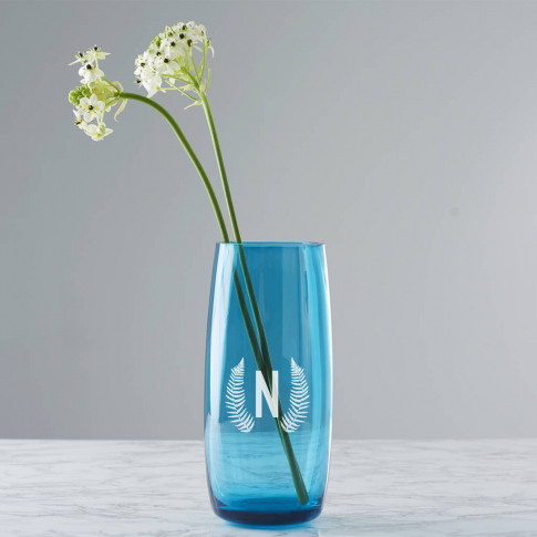 Personalised Botanical Initial Coloured Vase