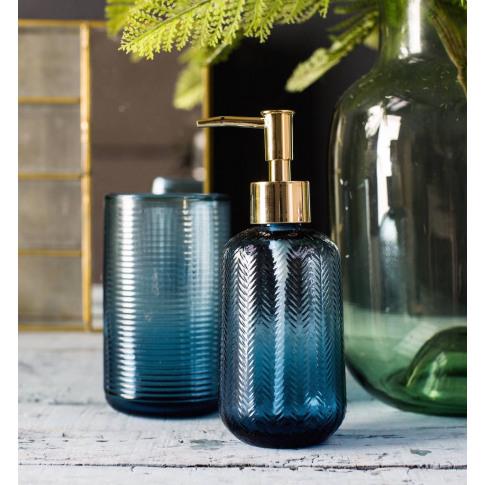 Etched Blue Glass Soap Dispenser