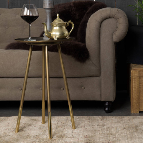 Iron Side Table With Brass Dipped Legs