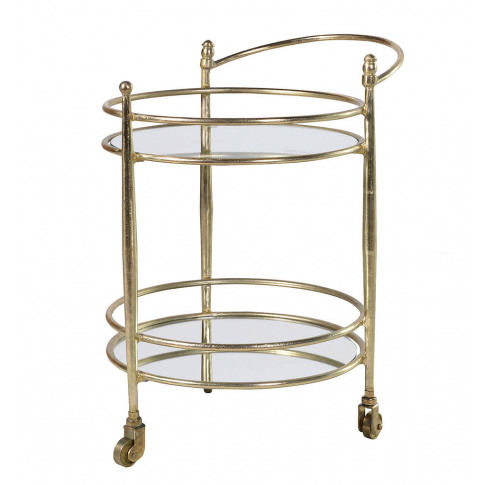 Round Gold Metal Drinks Trolley