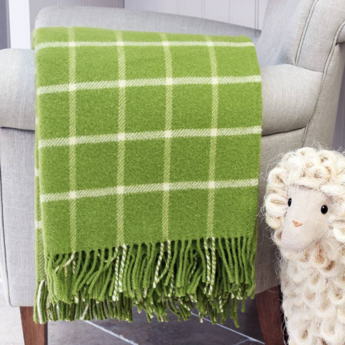 Spring Green And Cream Check Wool Throw