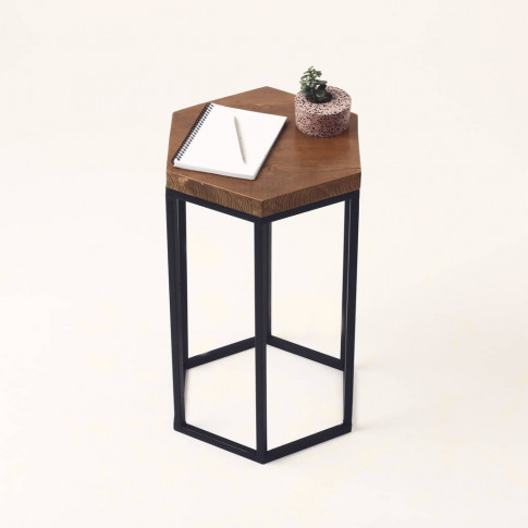 Hexagonal Wooden Side Table
